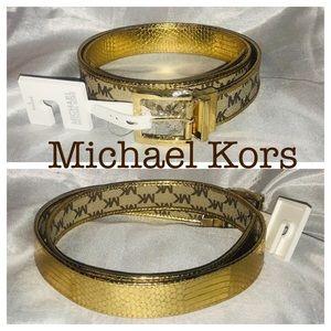 Michael Kors Sz Large Brown Gold Reversible Belt